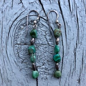 Vintage Green Turquoise & Sterling Earring